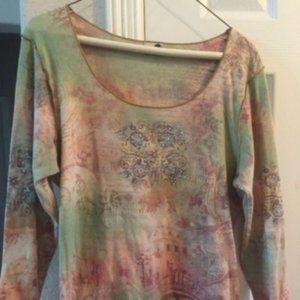 one world multicolored embellished 3/4 sleeve top